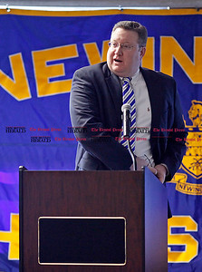 Chris Richie | Staff Mayor Jeffrey Wright speaks during Newington's annual state of the town at Newington High School on Thursday. (2/10/11)