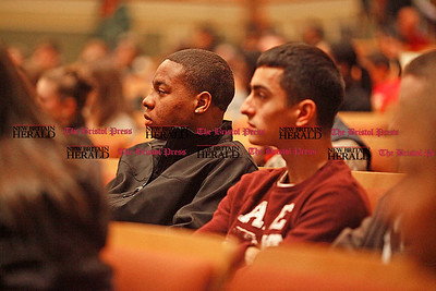 "Chris Richie | Staff CCSU students Greg Brown, left, and Vinny Cadella listen as Reverend Samuel ""Billy"" Kyles speaks at the Thorpe Auditorium on the campus of CCSU in New Britain. (2/10/11)"