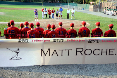 7/7/2010 Mike Orazzi | Staff A sign for Matt Roche, the Bristol American Legion baseball player, who passed away after a fall on June 23. In honor of his No. 7, there was  a special admission price of $7. Proceeds will be used to benefit the Roche family in Matt's honor.