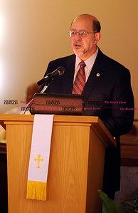 1/1/2011 Mike Orazzi | Staff CT State Senator Don DeFronzo during the New Britain Branch NAACP Emancipation Day Program at the Spottswood A.M.E. Zion Church in New Britain on Saturday.