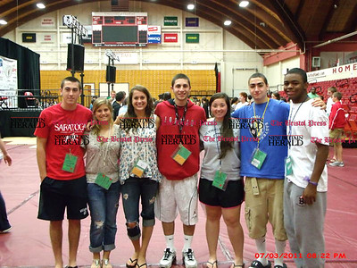 The Bristol Sports Hall of Fame awarded scholarship to several Bristol high school students to attend the World Scholar Athlete games and the World Peace Summit held at the University of Hartford June 26 to July 4.  Here  is a picture of some of the students who attended the Games.  Nathan Colegrove, Emily Cintorino, Kayla Ziogas, Dan Siemiatkoski, Jessica Roberge, Connor Anastasio, and Harrison Walker.  Others attending were Christiano Chavez, Jamie Diaz, Lindsay Donati, and Joshua Critcheley