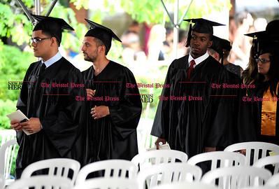 6/1/2011 Mike Orazzi | Staff Tunxis Community College graduates during Wednesday night's graduation ceremony.