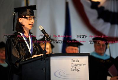 6/1/2011 Mike Orazzi | Staff Tunxis Community College Salutatorian Anna Karpiej of Newington during Wednesday night's graduation ceremony.