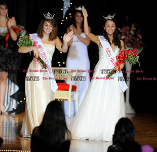 10/1/2011 Mike Orazzi | Staff Miss Bristol's Outstanding Teen 2012 Lindsay Avritch (left) and Miss Bristol 2012 Cheyenne O'Donnell (right) after winning their titles on Saturday night at Bristol Central High School.