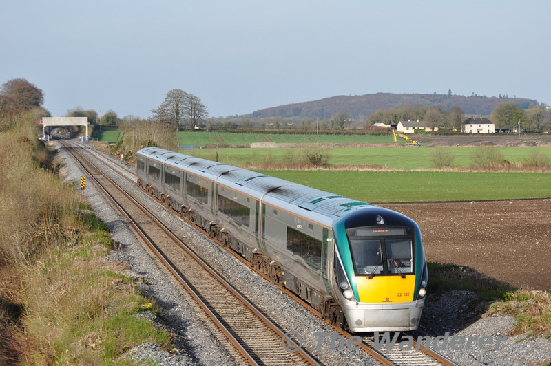 22032 passes Carn Bridge with the 1705 Heuston - Tralee. Wed 06.04.11