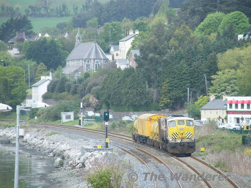 The 1222 Cork - Midleton Weedspray Train passes Glounthaune Village with 073. Tues 26.04.11. Picture courtesy of JT42 HCW.