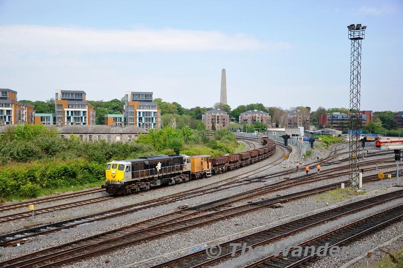 088 is seen at Islandbridge Jct with a Ballast Train from Gorey to Portarlington. Fri 22.04.11