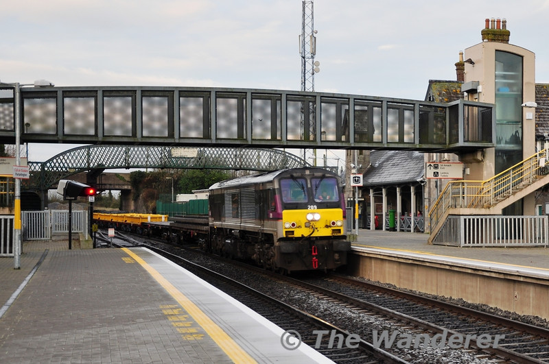Northern Ireland Railways 209 is still gaining useful employment on Iarnrod Eireann Permanent Way Trains. It is pictured passing Portarlington with two flat wagons and four spoil wagons working 0900 Portlaoise - Heuston Guinness Yard. The train was for Engineering Works to disconnect Cabra Cement Sidings on the Islandbridge Jct - Glasnevin Jct line on Sunday 11th December. Sat 10.12.11