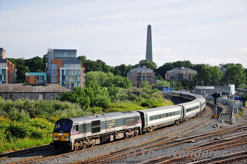 230 had the unusual job of bringing the spare De-Dietrich Set from Belfast York Road to Inchicore on Saturday 2nd July for the MKIII Van Project. It arrived at Islanbridge Jct shortly after 0810 and is seen awaiting a path to Inchicore.