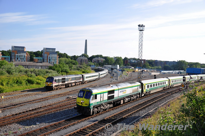 The 0800 Heuston - Cork was late departing Heuston today, therefore it enabled the unusual chance to photograph the the two types of locomotive hauled passenger stock in Ireland side by side. 232 departs Heuston bound for Cork while 230 still awaits a path to Inchicore. Sat 02.07.11