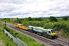 Normally found on 100mph Dublin - Cork expresses 229 found itself on more mundane duties on Friday 10th June 2011 when it was sent Light Engine from Inchicore to Limerick Jct to collect failed Tamper 738 and haul it back to Kildare Per-Way Depot for attention. It is pictured passing Portlaoise.