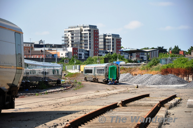 """The other two """"good"""" vehicles of 22037, carriages 22737 and 22137 at the other end of Heuston Guinness Yard.  Sat 04.06.11"""