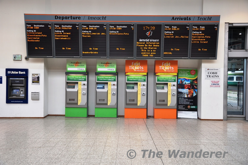 Cork Departures and Arrivals and ticket vending machines. Sun 01.05.11