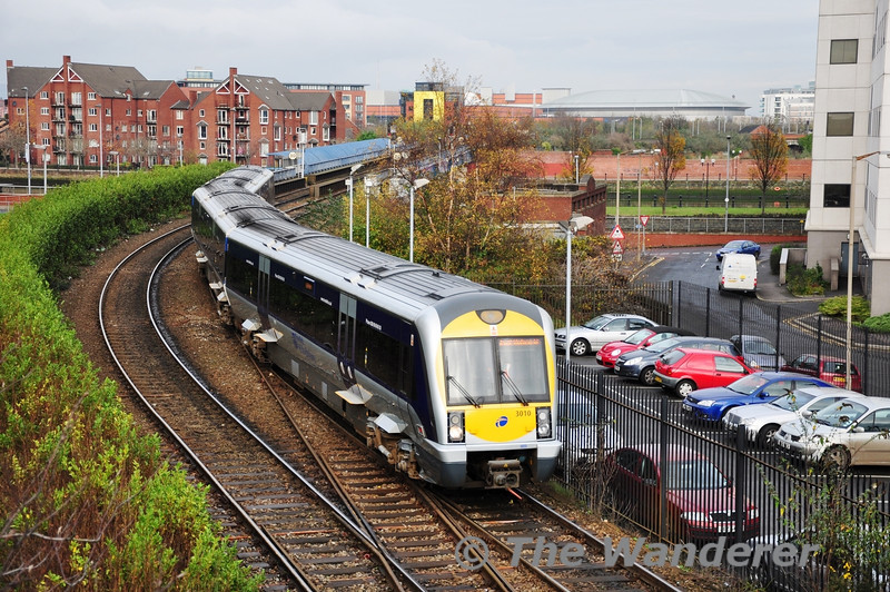 3010 arrives at Belfast Central while working the 1127 Bangor - Portadown via Great Victoria Street. Mon 21.11.11