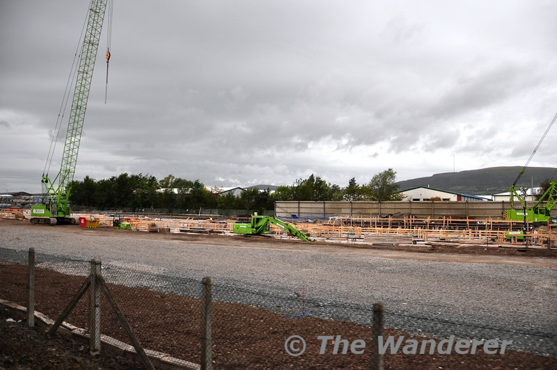 The new train depot at Belfast Adelaide Road takes shape. Sun 25.09.11
