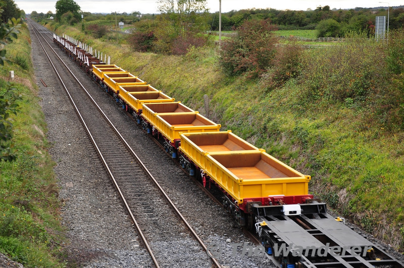These converted flat wagons will form part of the new spoil train. They were transferred from Limerick to Portlaoise on Tuesday 27th September 2011.