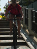Riding stairs on a footpath !