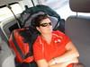 Enjoying a nap on the mini bus, from Poi Pet to Pattaya