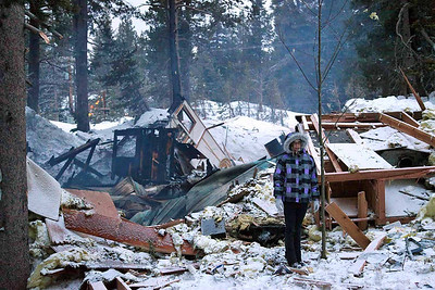 The smoking remnants of the exploded cabin.