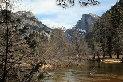 The Merced River wandering & swollen between North Dome and Half Dome. Still too early for the Dogwood Bloom.