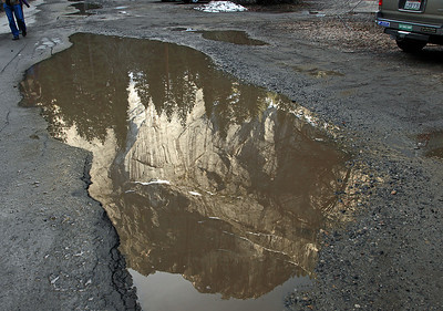Masterpiece in a mud puddle. Inverted Glacier Pt. found in the Curry Village Parking Lot/apple orchard.