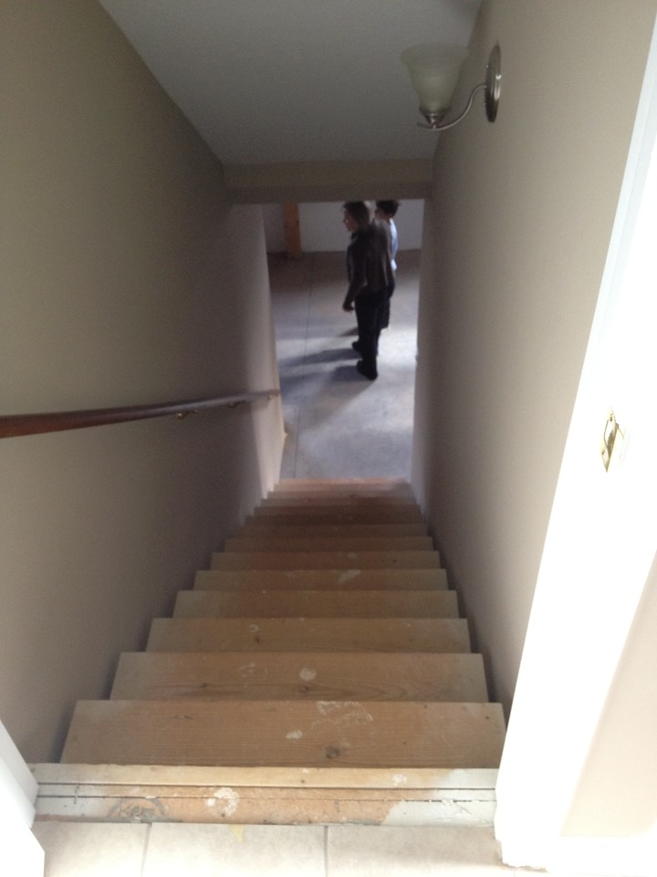 Stairs down to unfinished basement