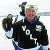 Pete Sherba, from the Westcana Electric Volts gives the thumbs up to the Pond Hockey  Championship. Citizen photo by David Mah