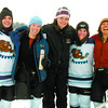 Lisa Krebs. left, Krista Sittler, Jody Green, Nicole MacFarlaneand Becky Cadsend, of the PG Beavers, were the only womens team in the 1st annual Northern Regional Pond Hockey Championship at West Lake on the weekend. Citizen photo by David Mah