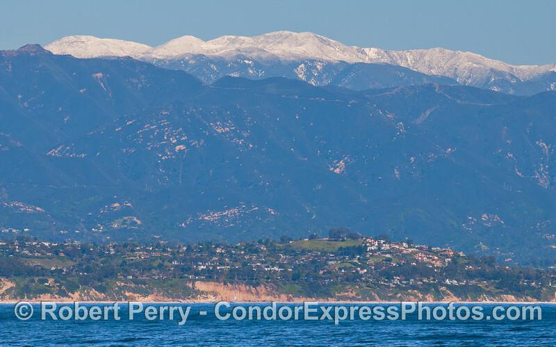 Snow on the mountains above Santa Barbara.