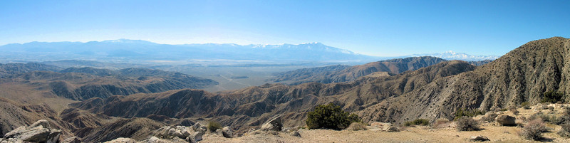 Panorama from Keys View at 5,185 feet. It was clear enough on this day to see Mexico 90 miles away. The San Jacinto peak was very visible and had more snow on it than I have seen at any other visit to Palm Springs