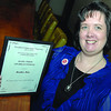Heather Hein winner of the Hazel White award from E Fry Scoiety. Citizen photo by Brent Braaten   April 19 2011