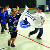 Nick Richards, left, and Sheldon Bough run through the gym at Central Fort George Traditional school during a ralley. The school held a Canucks day to show their support. Citizen photo by Brent Braaten      June 15 2011
