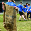 Chloe English-Tolmie, 5, a Kindergarden student at Central Fort George Trsaditional School competes in the sack race during the schools Sports Day Thursday. Citizen photo by Brent Braaten        June 23 2011