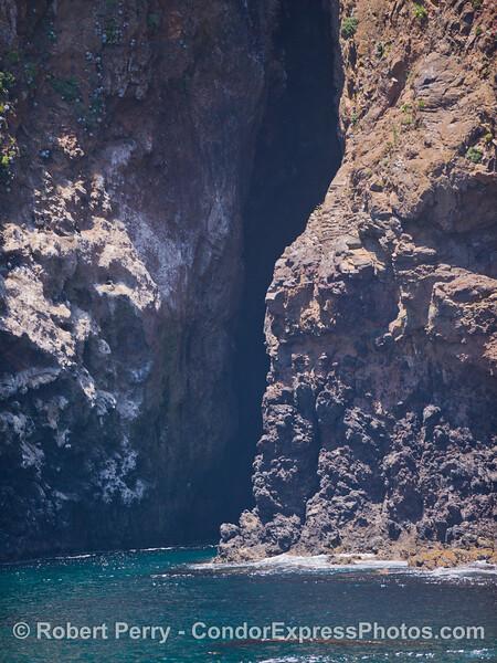 A narrow, tall cave on Santa Cruz Island.