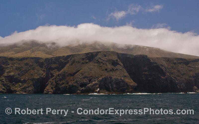 When the winds kick up, a cloud bank forms atop Santa Cruz Island.