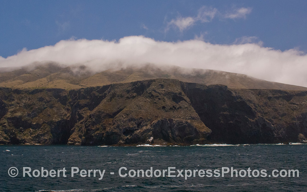 When the winds kick up, a cloud bank forms atop Santa Cruz Island.
