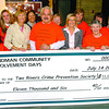 Hotel staff from Sandman Hotel present a cheque to Two Rivers Crime Prevention Society and Comunity Policing for $11,006.40 Wednesday morning. The money was raised on June 4th and 5th at the 5th annual Sandman Community Involvement Days Garage Sale. Citizen photo by Brent Braaten      July 20 2011