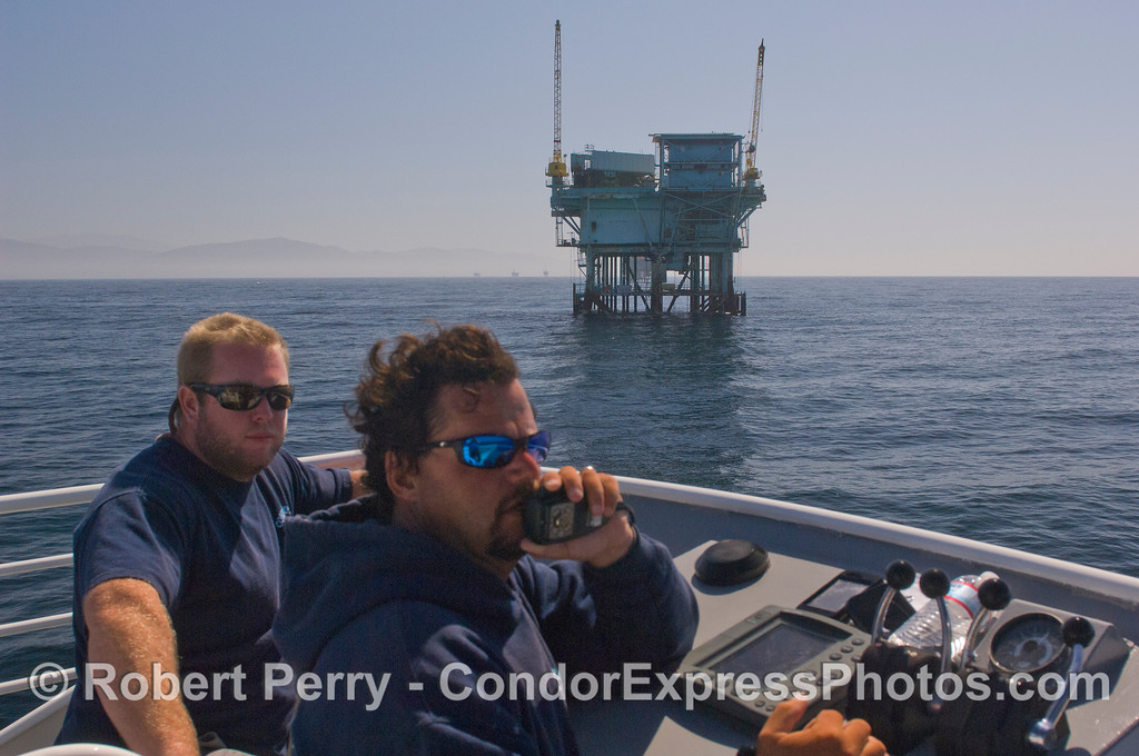 """Platform """"C"""" & Mat Curto & Matt Rollings on the Condor Express flying bridge telling oil stories while searching for wildlife."""