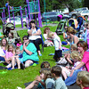 Ingrid Wenzel, 'story teller' with the Public Library tells a story to children  gathered at Latrobe Park for Storytime in the Park Thursday. The next Prince George Public Library storytime is August 11 in Eaglenest Park at 10:30 am. Citizen photo by Brent Braaten    Aug 4 2011