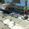 Concrete sidewalks are being poured infront of the BC Cancer Agency Centre for the North in Prince George seen here from the parkade of the University Hospital for Northern BC.   Citizen photo by Brent Braaten         Aug 4 2011