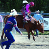 Blaine Manuel, from 150 Mile House, hangs on for his 8-second ride steer ride in the Nukko Lake Little Britches Rodeo. Aug 22, 2011 Citizen photo by David Mah