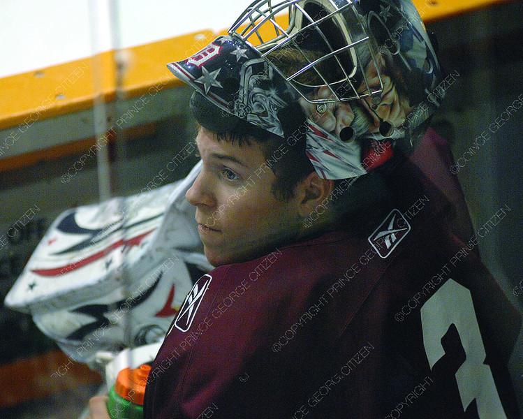 Cougars goalie Drew Owsley at practice Wednesday morning at CN Centre. Citizen photo by Brent Braaten      Aug 31 2011