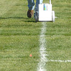 Ray Perreault grounds keeper and maintence for Prince George Youth Soccer paints the lines on one of the 18 fields at Rotary Fields Wednesday. Youth soccer starts up again next Tuesday. Citizen photo by Brent Braaten     Aug 31 2011