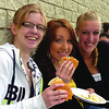 College of New Caledonia accounting student Victoria Davies, left, Megan Pombert, in biology, Paige Bruintjes, in dental assisting, and thousands of other students returned and started at the College Tueday. Here, they kickoff the year with Twoonie Burgers. Sept 07. 2011 Citizen photo by David Mah