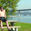 Chad West takes a break Thursday afternoon from work and catches some sun in Fort George park.  Citizen photo by Brent Braaten    Sept 8 2011