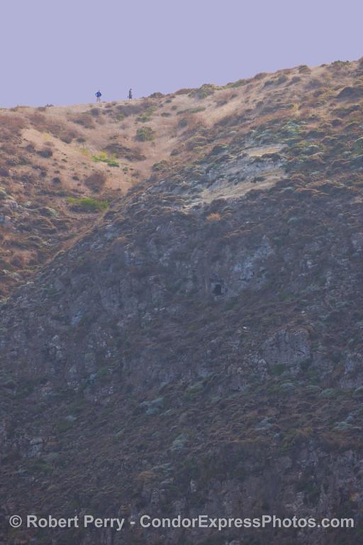 Hikers on clifftop 2011 10-21 Sta Cruz Island.