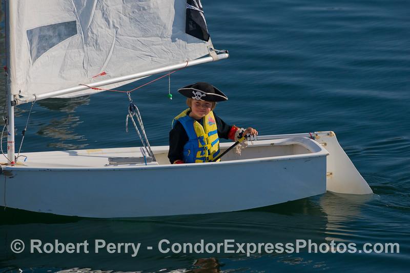 A lone pirate sails into Santa Barbara Harbor.  Haaaargh, matey !