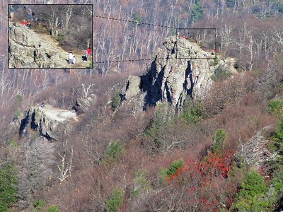 A rock where folks train for climbing. This is a great rapelling spot. Had to do the zoom in so you could see the people.
