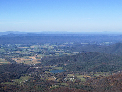 Zoomed out view of Shenandoah valley and the Luray Reservoir.