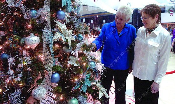 Gloria Davis, left, and Cheryl Balog, check out the Tropical Pool and Spa Home for the Holidays auction tree. The tree auctioned for $12,500.00 to raise funds for the 18th annual Spirit of the North Healthcare Foundation. 19 beautiful trees were autioned off Friday night at the live auction. Nov. 21. 2011 Citizen photo by David Mah